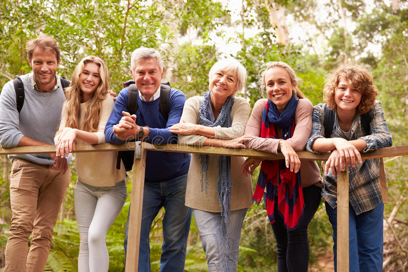 Multi-generation family on a bridge in forest, portrait stock image
