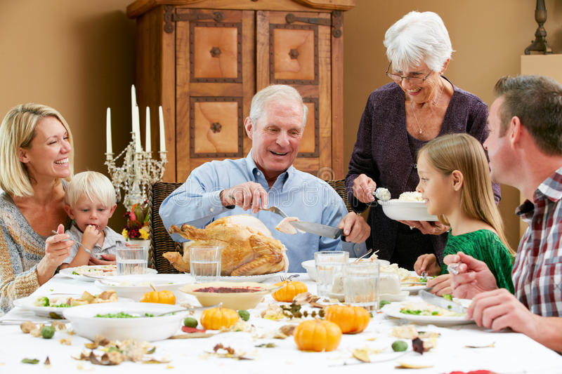 Multi Generation Family Celebrating Thanksgiving stock images