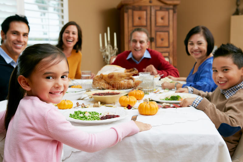 Multi Generation Family Celebrating Thanksgiving royalty free stock image