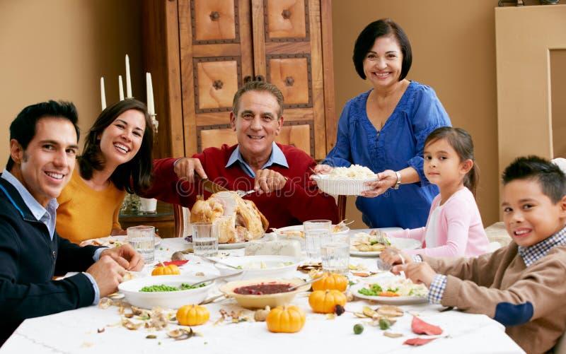 Multi Generation Family Celebrating Thanksgiving royalty free stock image