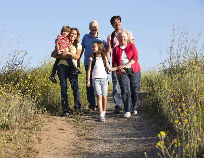 Multi-generation family on country walk stock images