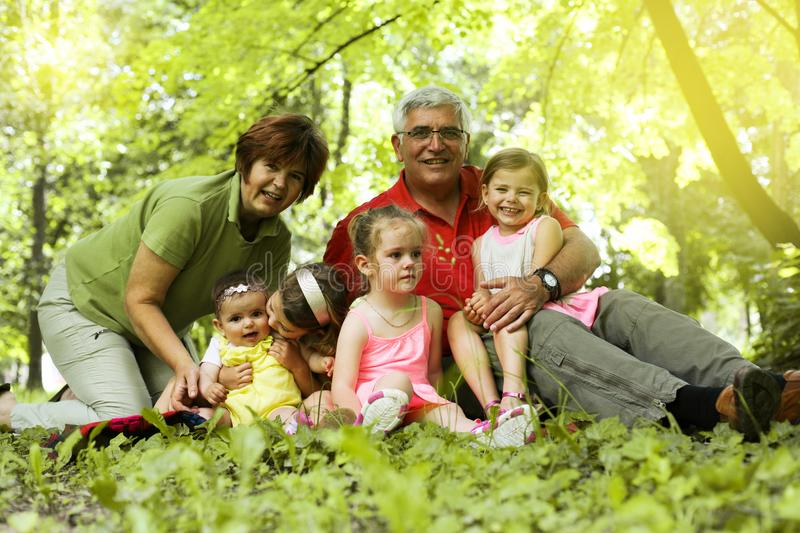 Multi generation family outdoor. Portrait. royalty free stock image