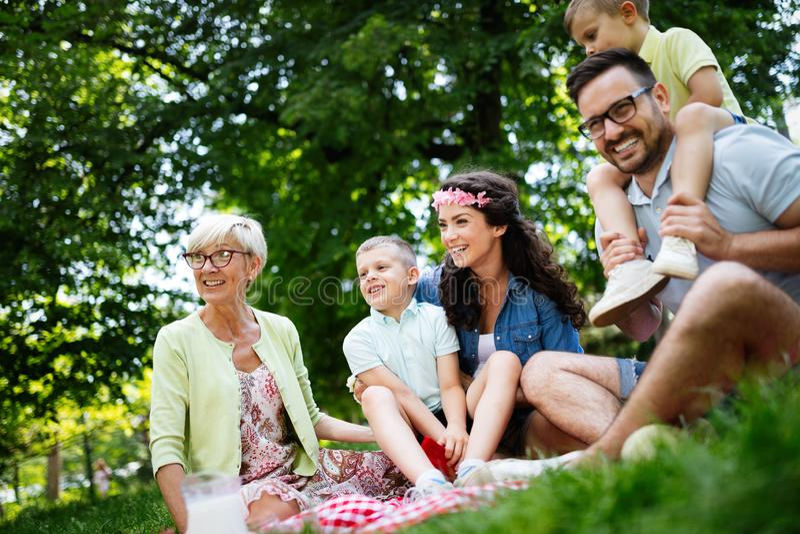Multi generation family enjoying picnic in a park royalty free stock image