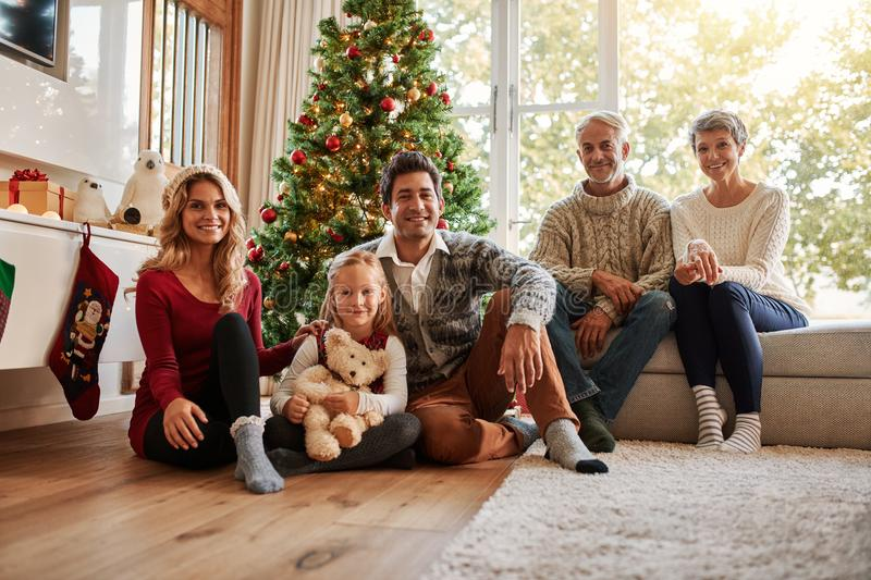 Multi generation family in front of christmas tree royalty free stock photo