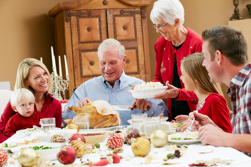 Download Multi Generation Family Having Christmas Meal Stock Image - Image: 28082751