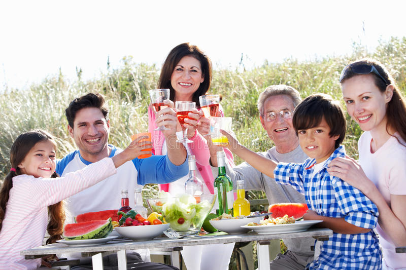 Multi Generation Family Having Outdoor Barbeque stock photos