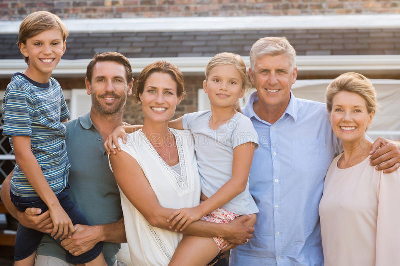 Multi generation family outdoor stock images