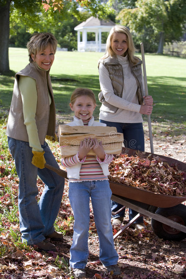 Multi-generational Family Doing Yard Work In Autumn Stock Photo - Image of  carrying, leaves: 41712170