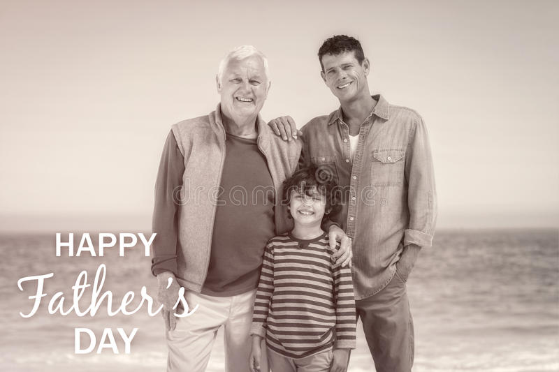 Multi generational family with Happy fathers day stock photos