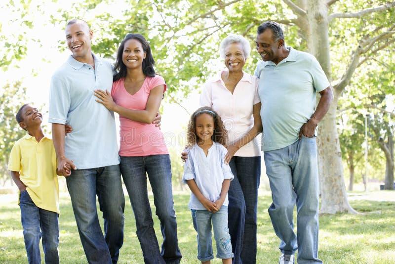 Multi Generations-Afroamerikaner-Familie, die in Park geht stockbilder
