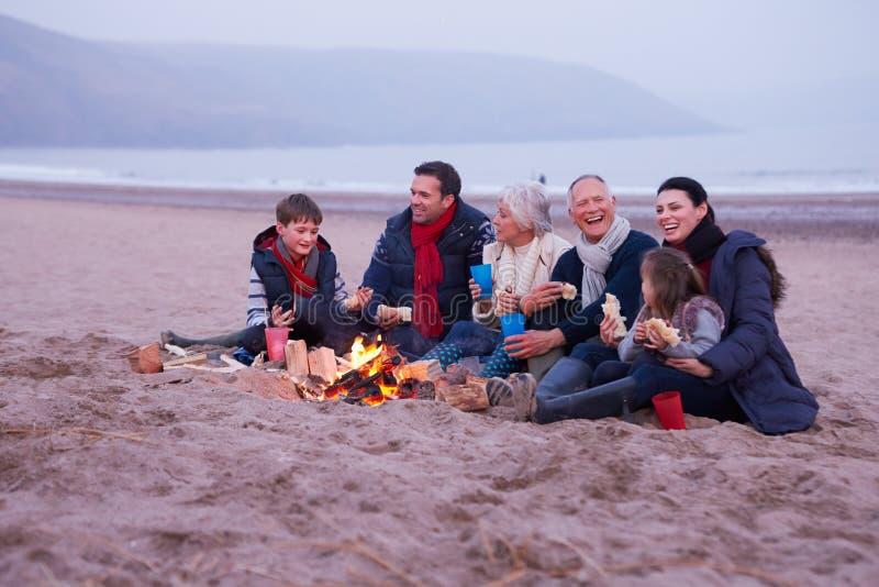 Multi Generations-Familie, die Grill auf Winter-Strand hat lizenzfreie stockbilder