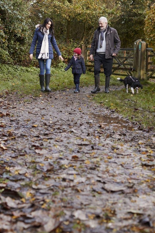 Multi Generations-Familie nehmen Hund für Weg in der Fall-Landschaft stockbild