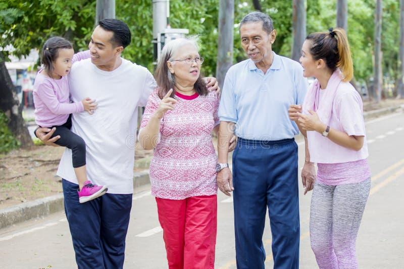 Multi Generationsfamilie, die im Park plaudert lizenzfreie stockfotografie