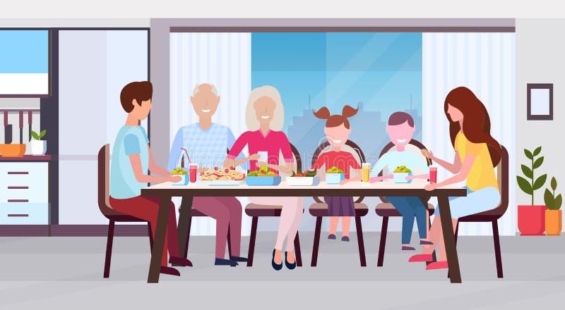 Multi Generationsfamilie, die um die Tabelle zusammen isst der Großelterneltern und -kinder der Mahlzeit glückliche moderne Küche stock abbildung