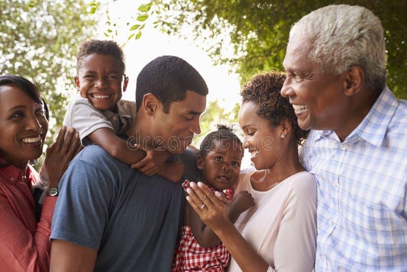Multi Generationsschwarz-Familienblick auf einander im Garten stockfotos