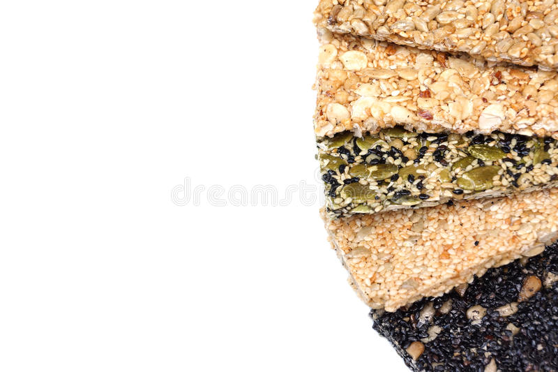 Multi-grains bars. Different types of multi-grains bars royalty free stock photography