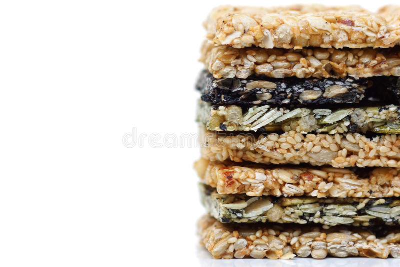 Multi-grains bars. Different types of multi-grains bars stock images