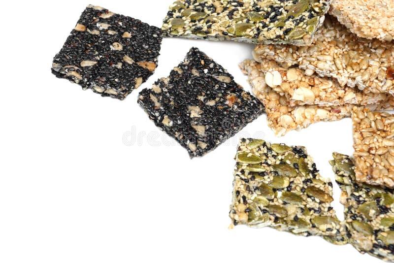 Multi-grains bars. Different types of multi-grains bars stock image