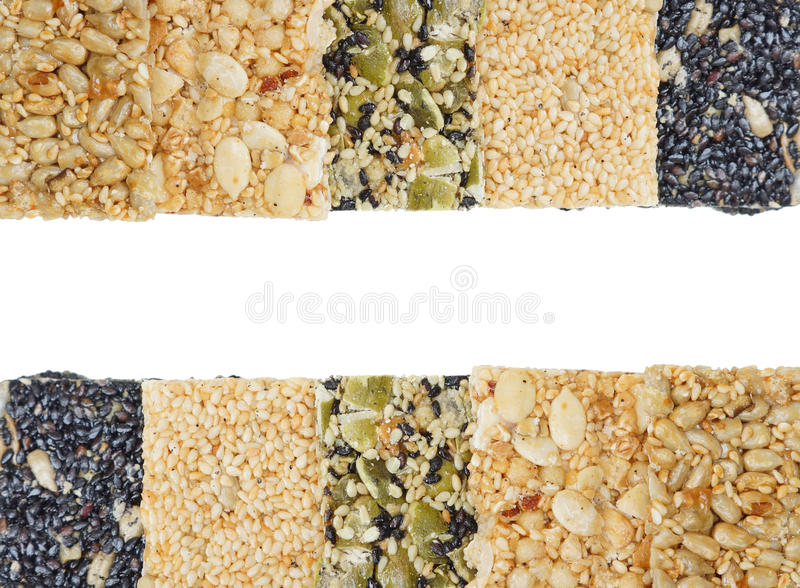 Multi-grains bars. Different types of multi-grains bars isolated royalty free stock image