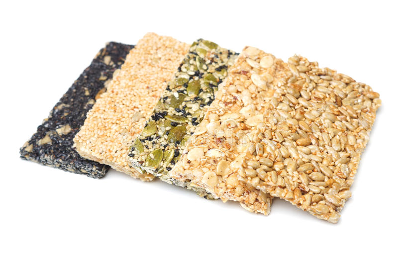 Multi-grains bars. Different types of multi-grains bars isolated stock photos