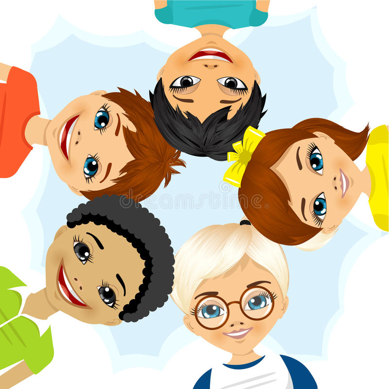 Multi gruppo etnico di bambini che formano un cerchio illustrazione vettoriale