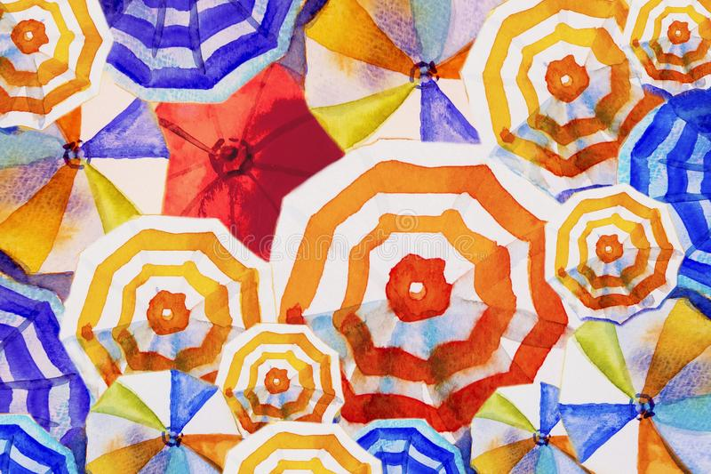Multi guarda-chuva colorido, opinião superior de pintura da aquarela ilustração do vetor