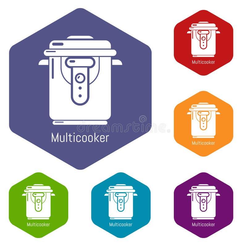 Multi hexahedron di vettore delle icone del fornello illustrazione di stock