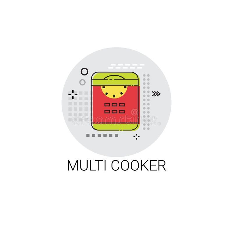Multi icona degli apparecchi dell'attrezzatura della cucina degli utensili da cucina del fornello royalty illustrazione gratis