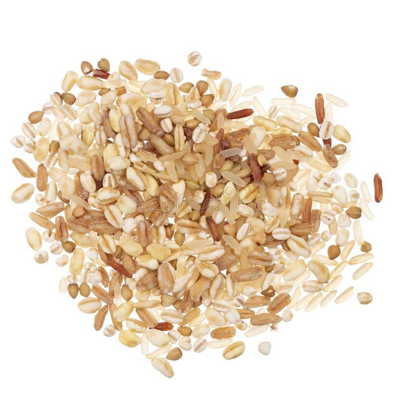 Multi Kornmischung - barkey, Reis, Weizen, buchstabiert und Hafer, Wahl der gesunden Ern?hrung Getrennt auf wei?em Hintergrund stockfotos