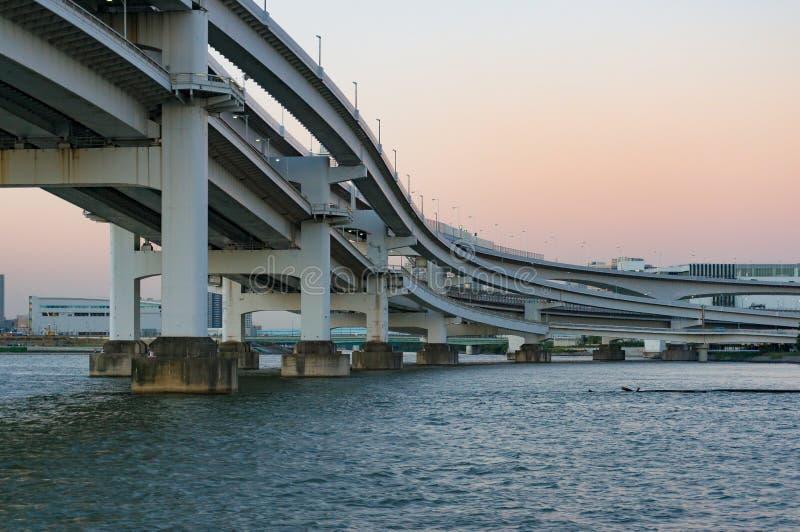 Multi level bridge. Modern urban infrastructure stock image