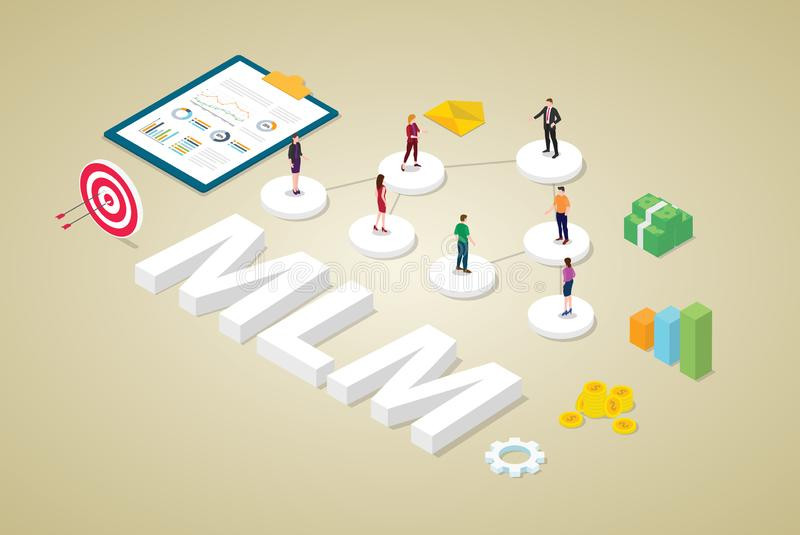 Multi-level marketing business concept with team people scheme binary tree concept with money and isometric modern flat style - stock illustration