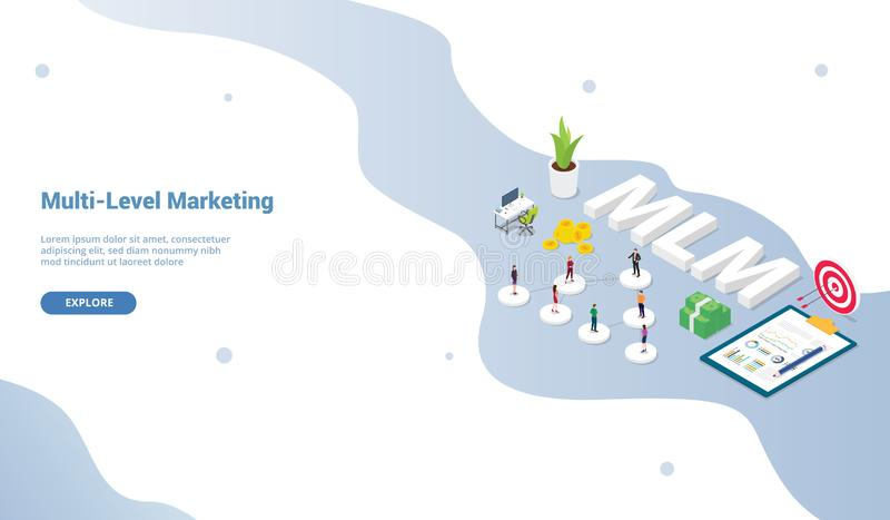 Multi-level marketing business concept with team people scheme binary tree concept for website template or landing homepage and vector illustration