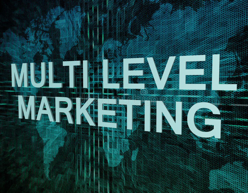 Multi Level Marketing. Text concept on green digital world map background stock photography
