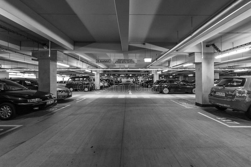 Multi-level parking in the shopping center Centrum Galerie in the old town. DRESDEN, GERMANY - SEPTEMBER 09, 2015: Multi-level parking in the shopping center ' stock photo