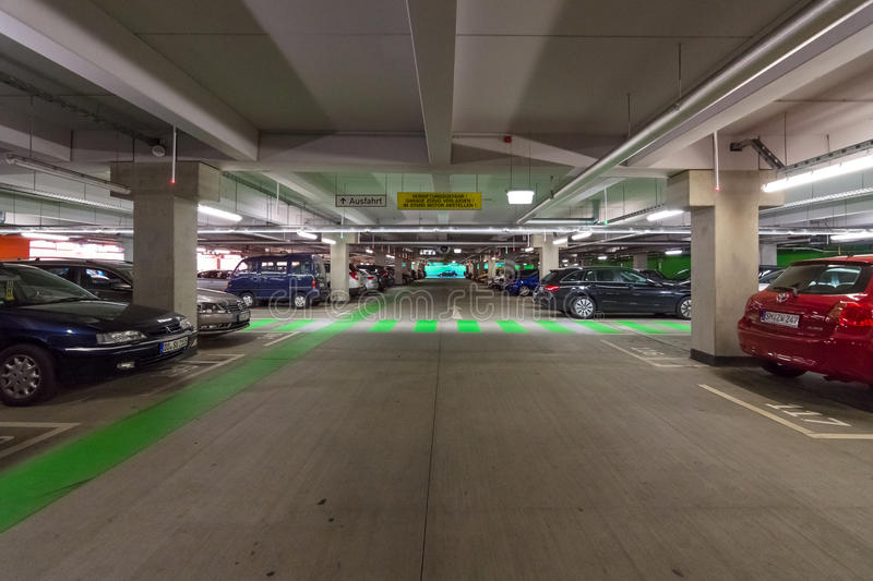 Multi-level parking in the shopping center. DRESDEN, GERMANY - SEPTEMBER 09, 2015: Multi-level parking in the shopping center 'Centrum Galerie' in the old town royalty free stock images