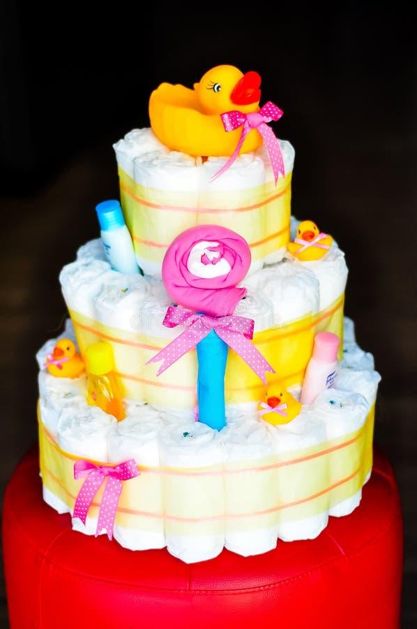 Multi levelled Colourful Diaper Cake. stock photos