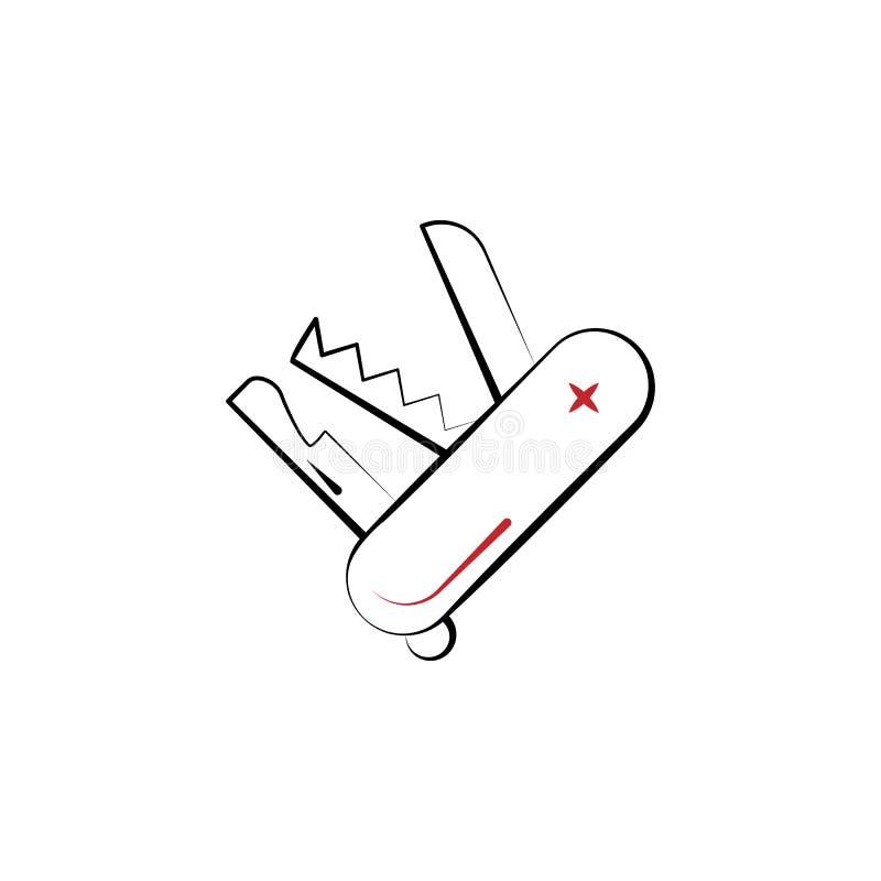 Multi linha colorida de acampamento ícone da faca 2 Mão simples ilustração tirada do elemento de cor Multi projeto de acampamento ilustração royalty free