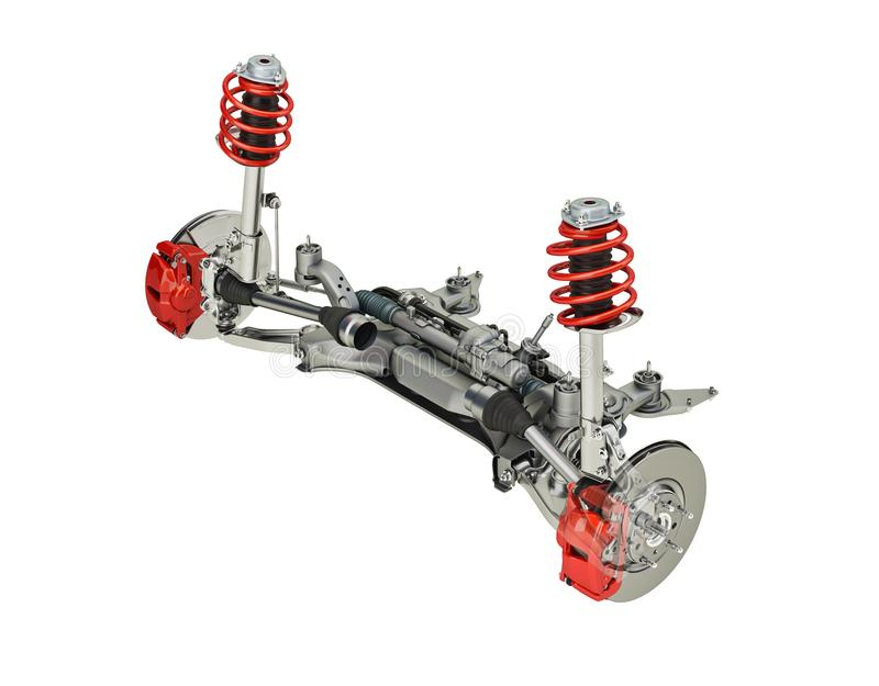 Multi link front SUV car suspension, with brakes. 3D rendering. Multi link front SUV car suspension, with brakes. perspective view. On white background royalty free illustration