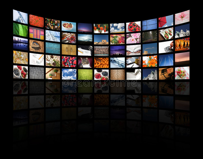 Multi media. Multiple screens displaying different images/information on black - all images � Daniel Gilbey