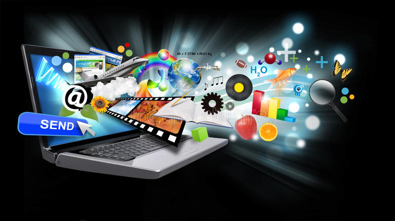 Multi Media Internet Laptop with Objects on Black. A laptop has many objects projecting out of the screen on a black background with glowing light. Use it for an stock illustration