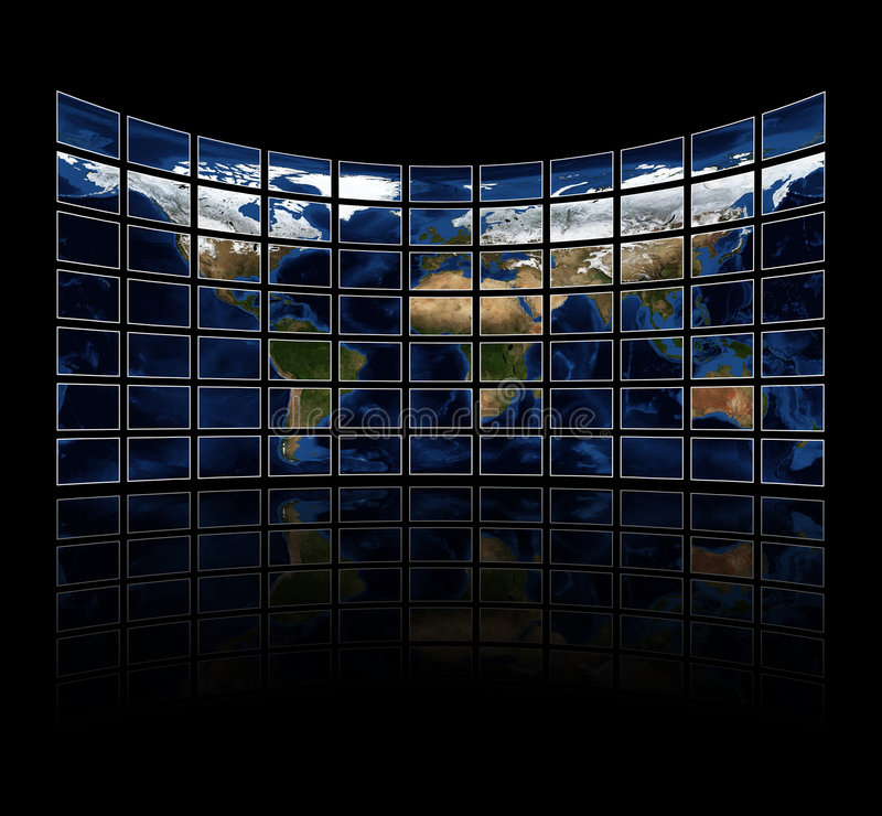 Multi media screens displaying the atlas royalty free illustration