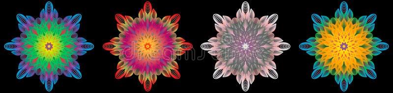 Multi modello d'annata orientale colorato con gli elementi floreali di arabesque, mandala illustrazione di stock