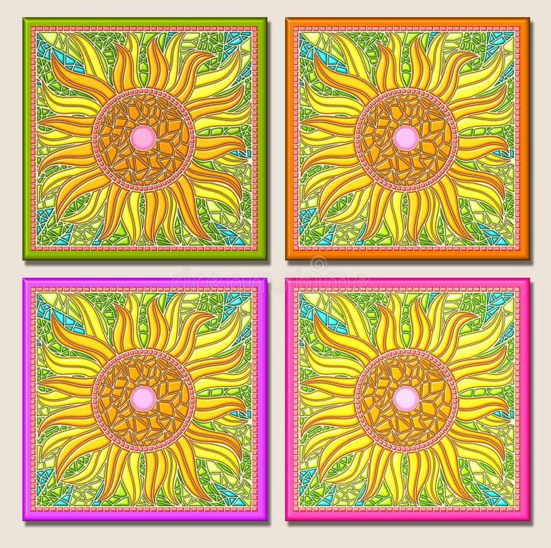 Multi-mosaico-luz do girassol ilustração stock