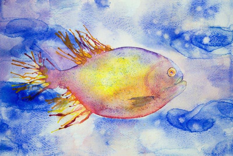 Multi natação colorida dos peixes da fantasia na água azul ilustração royalty free