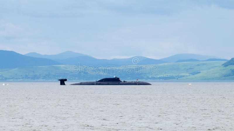 Multi-nuclear submarine of project 971 royalty free stock photo