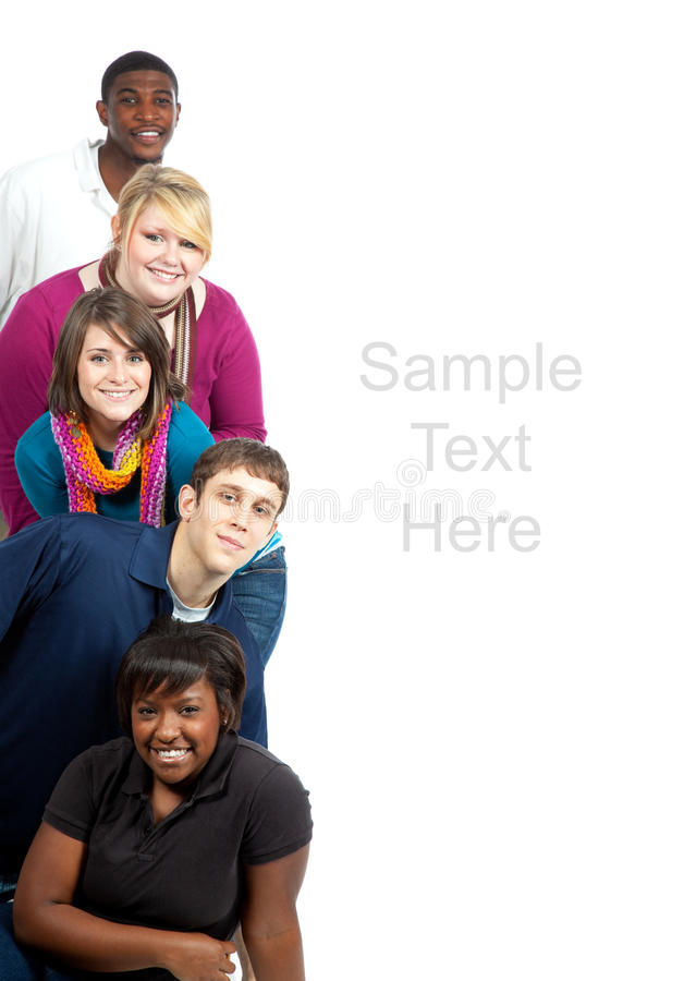Multi-racial college students on white royalty free stock photography