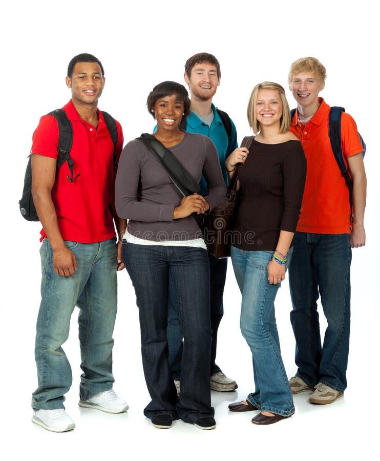 Multi-racial studenten op wit stock afbeelding