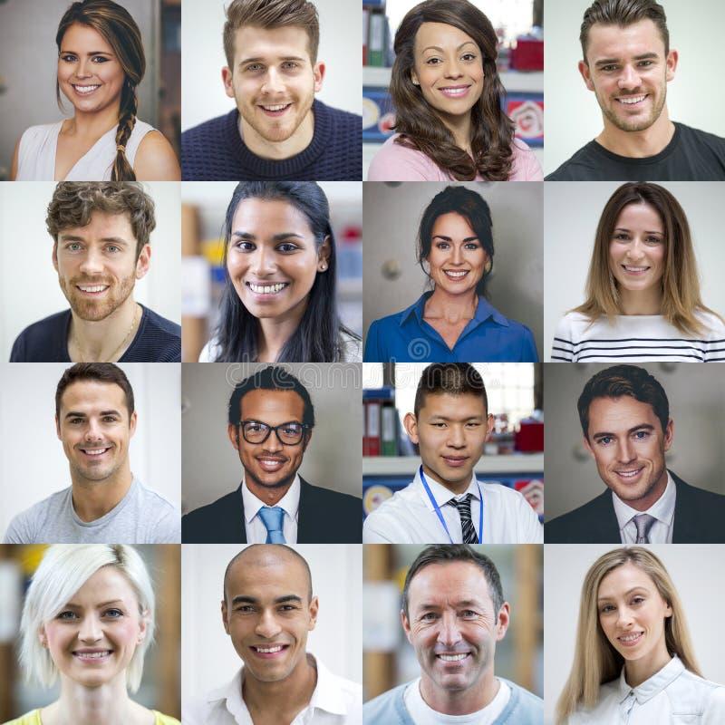 Multi ritratti adulti etnici fotografia stock