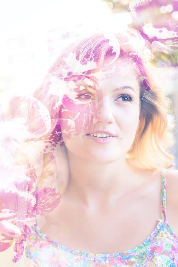 Multi ritratto di esposizione di bella giovane donna immagini stock libere da diritti