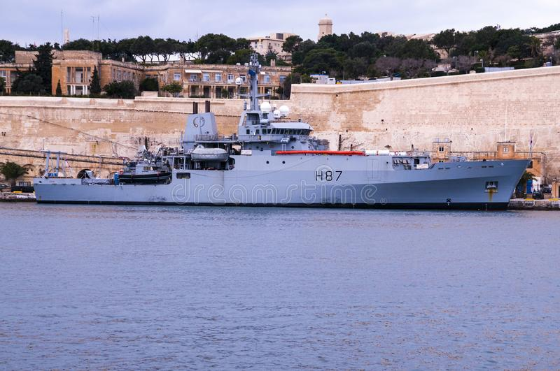 H.M.S. Echo birthed in Grand Harbour, Malta 26 Jan 18 royalty free stock photography